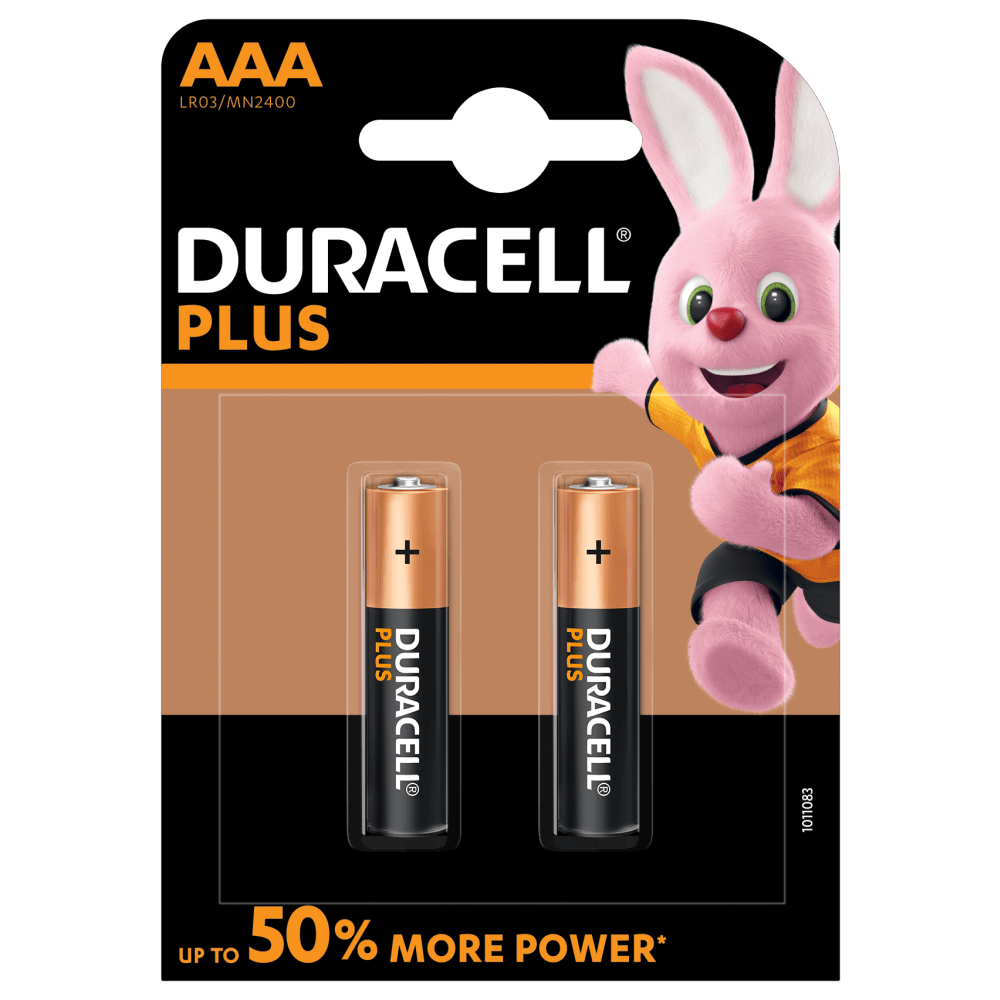 Duracell Plus Alkaline AAA 1.5V batteries with 2 pieces in a pack