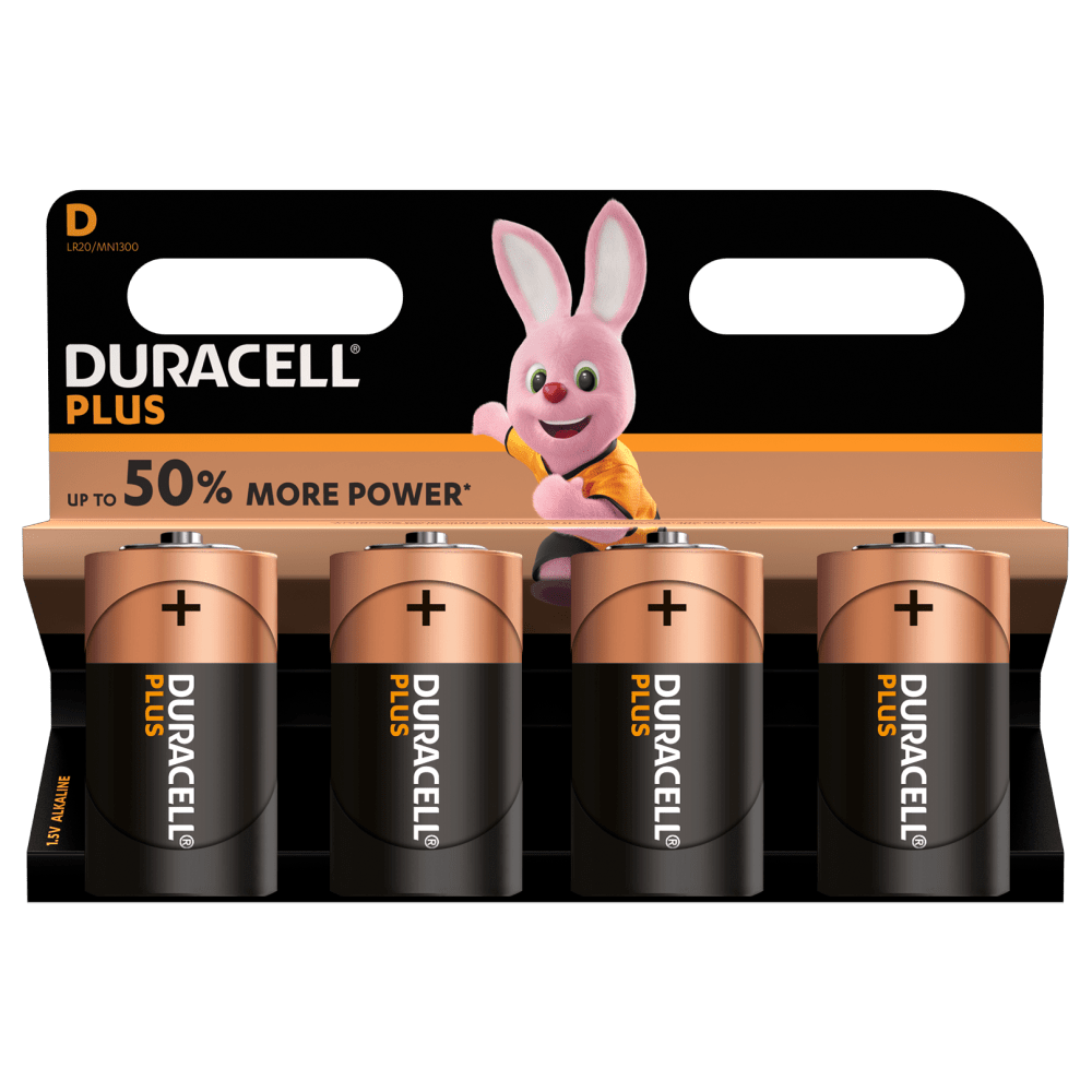 Duracell Ultra D batteries 1.5V in a 4 piece pack