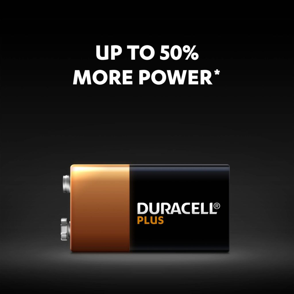 Duracell Plus 9V batteries have up to 50% more power