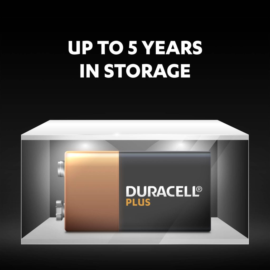 Unused Duracell Alkaline Plus 9V batteries fresh and powered for up to 5 years in ambient storage