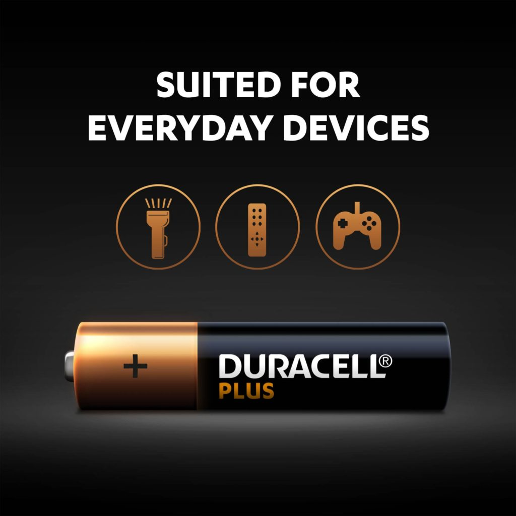Duracell Plus batteries are multi-purpose alkaline batteries
