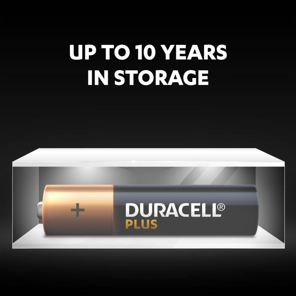 Unused Duracell Alkaline Plus AAA batteries fresh and powered for up to 10 years in ambient storage