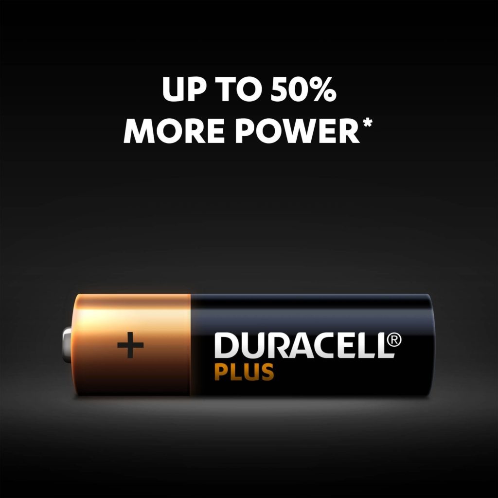 Up to 50% power more with Alkaline Type Plus AA size battery
