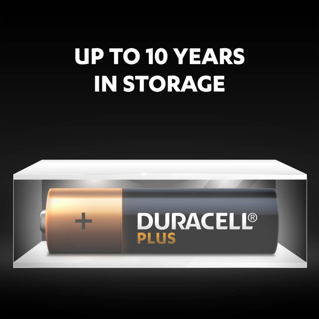 Unused Duracell Alkaline Plus AA batteries fresh and powered for up to 5 years in ambient storage