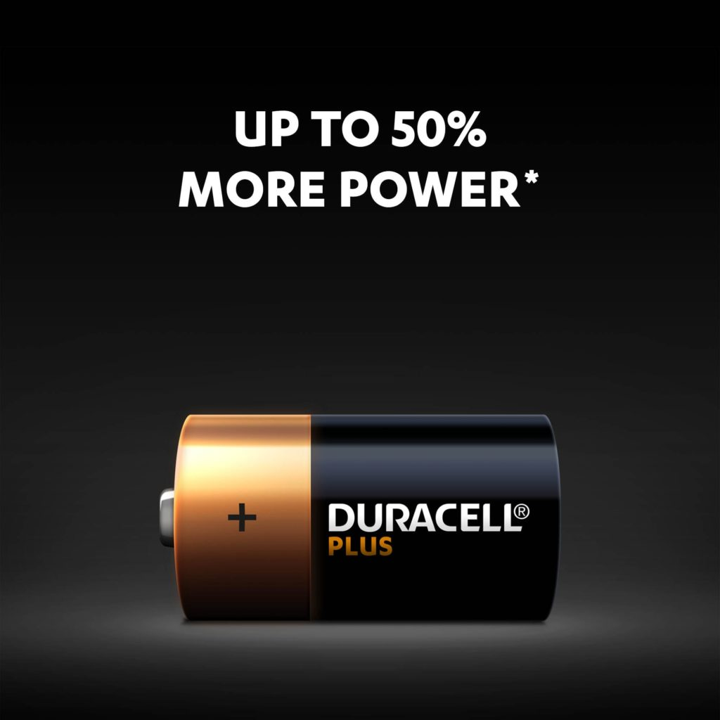 Duracell Plus C batteries have up to 50% more power