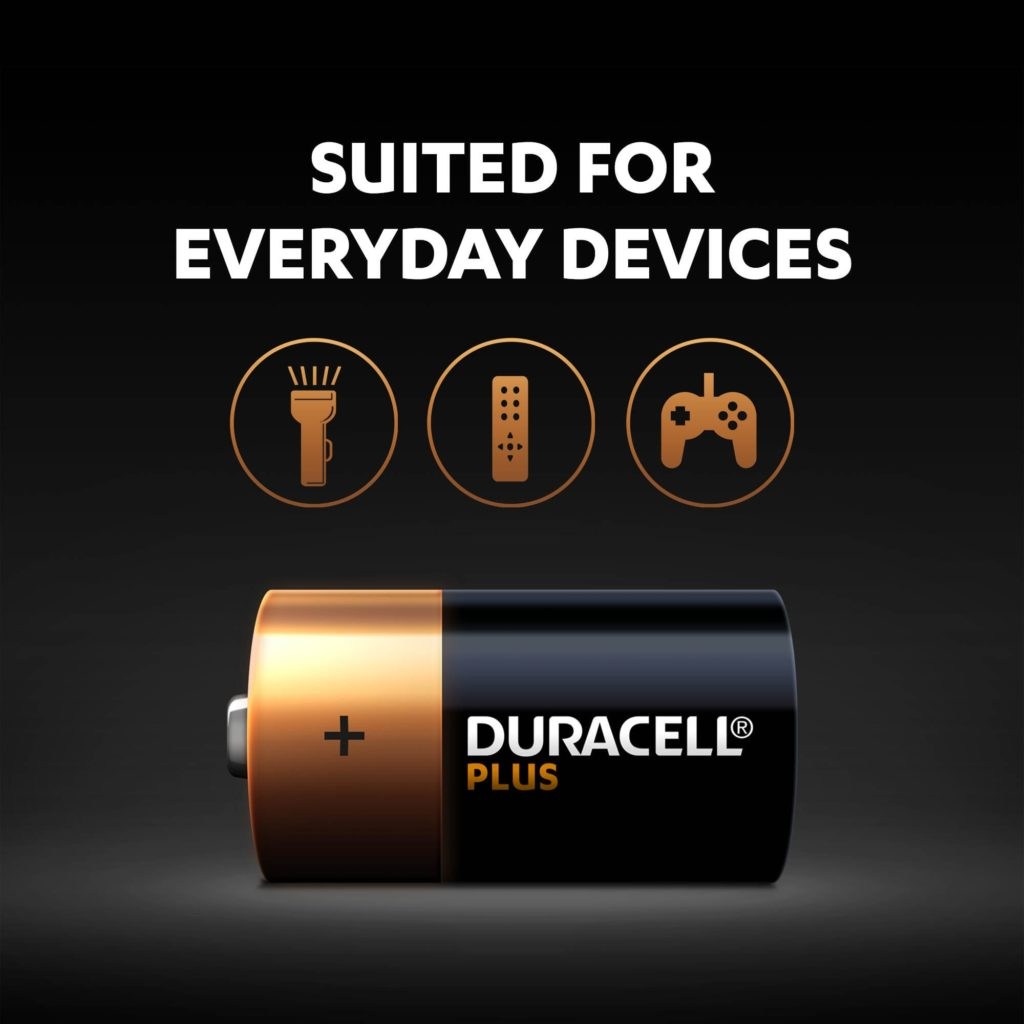 Alkaline Plus Type C-sized batteries are suitable for everyday devices