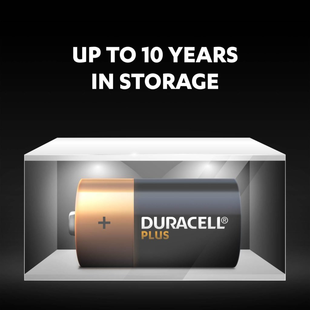 Unused Duracell Alkaline Plus C-size batteries fresh and powered for up to 10 years in ambient storage