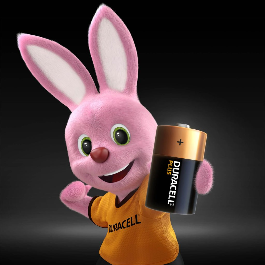 Bunny introducing Duracell Alkaline Ultra D battery