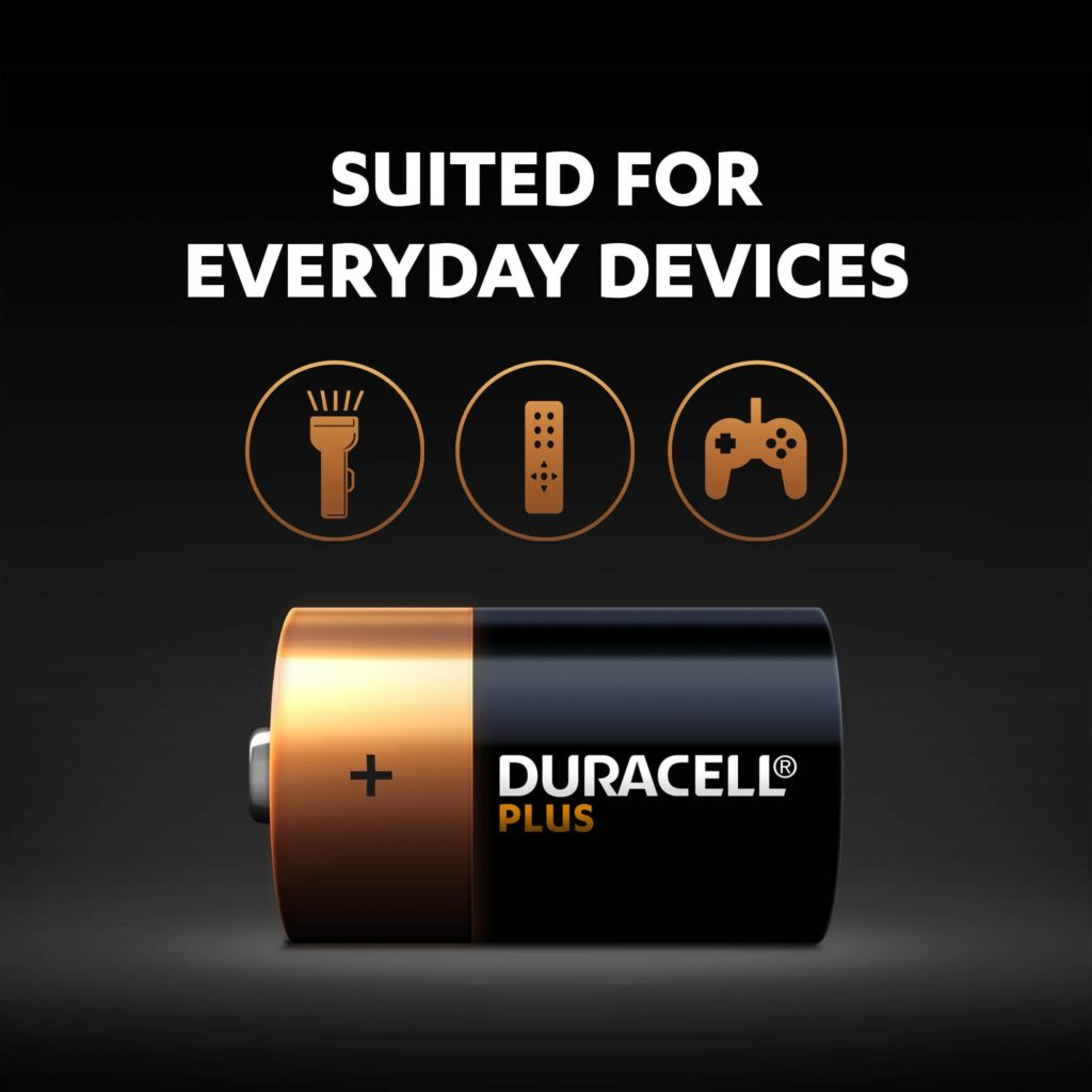 Duracell Plus batteries are multi-purpose alkaline batteries suited for everyday devices