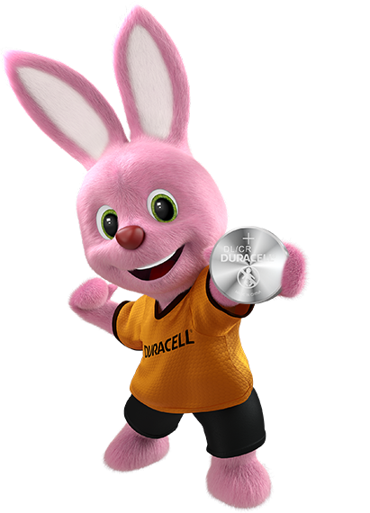 Bunny in action introducing Duracell Lithium coin 2032 battery