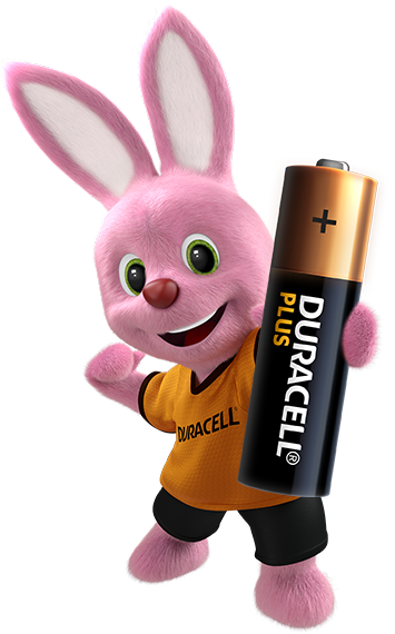 Bunny introducing Duracell Alkaline Plus Type AA size battery