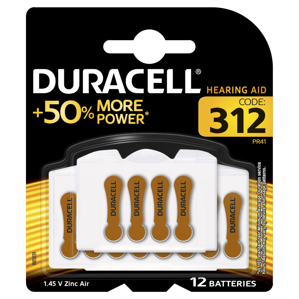 Duracell Hearing Aid Batteries Size 12 and code 312 and PR41