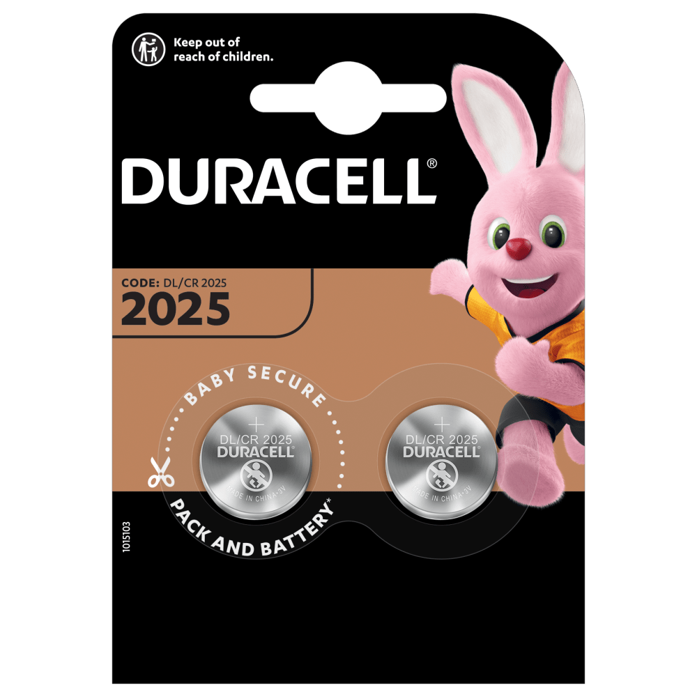 Duracell Specialty Lithium Coin 2025 Batteries in a 2 piece pack