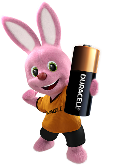 Bunny introducing Duracell Specialty Alkaline MN21 size 12V battery
