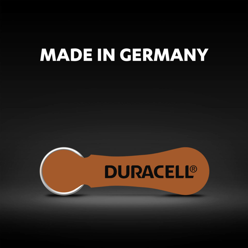 Duracell hearing aids batteries made in Germany