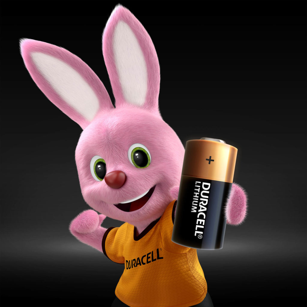 Bunny holding power lithium batteries