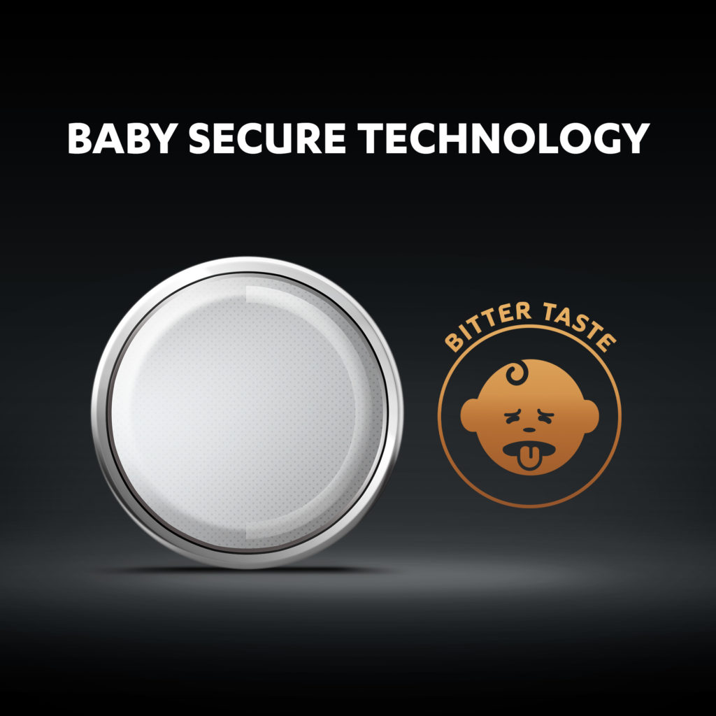 Duracell 2016 Lithium coin batteries come with baby secure technology